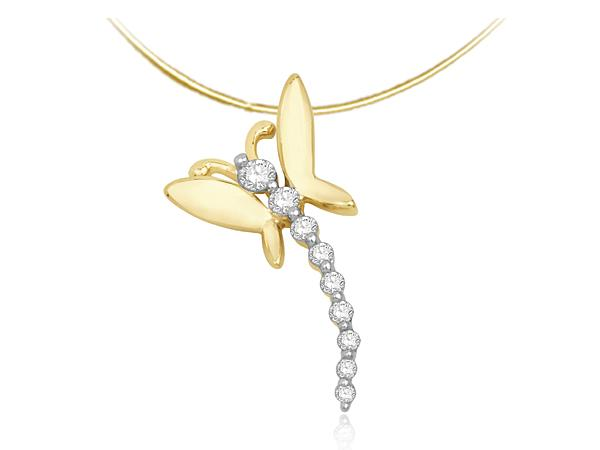14K YELLOW GOLD DIAMOND BUTTERFLY PENDANT