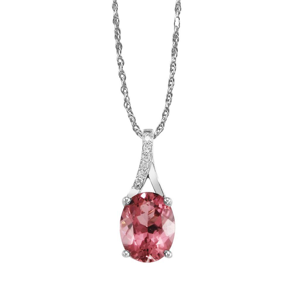 14K White Gold Pink Tourmaline and Diamond Pendant
