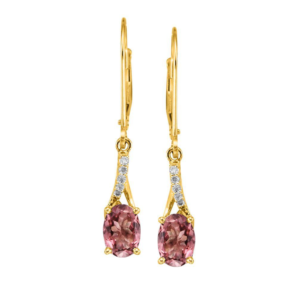 14K White Gold Pink Tourmaline and Diamond Earrings