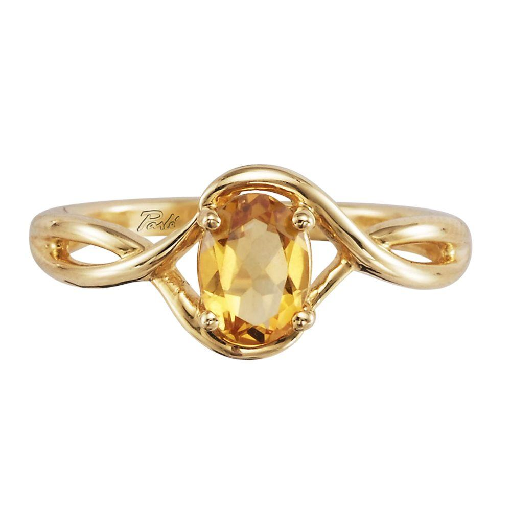 14K Yellow Gold Checkerboard Citrine Ring