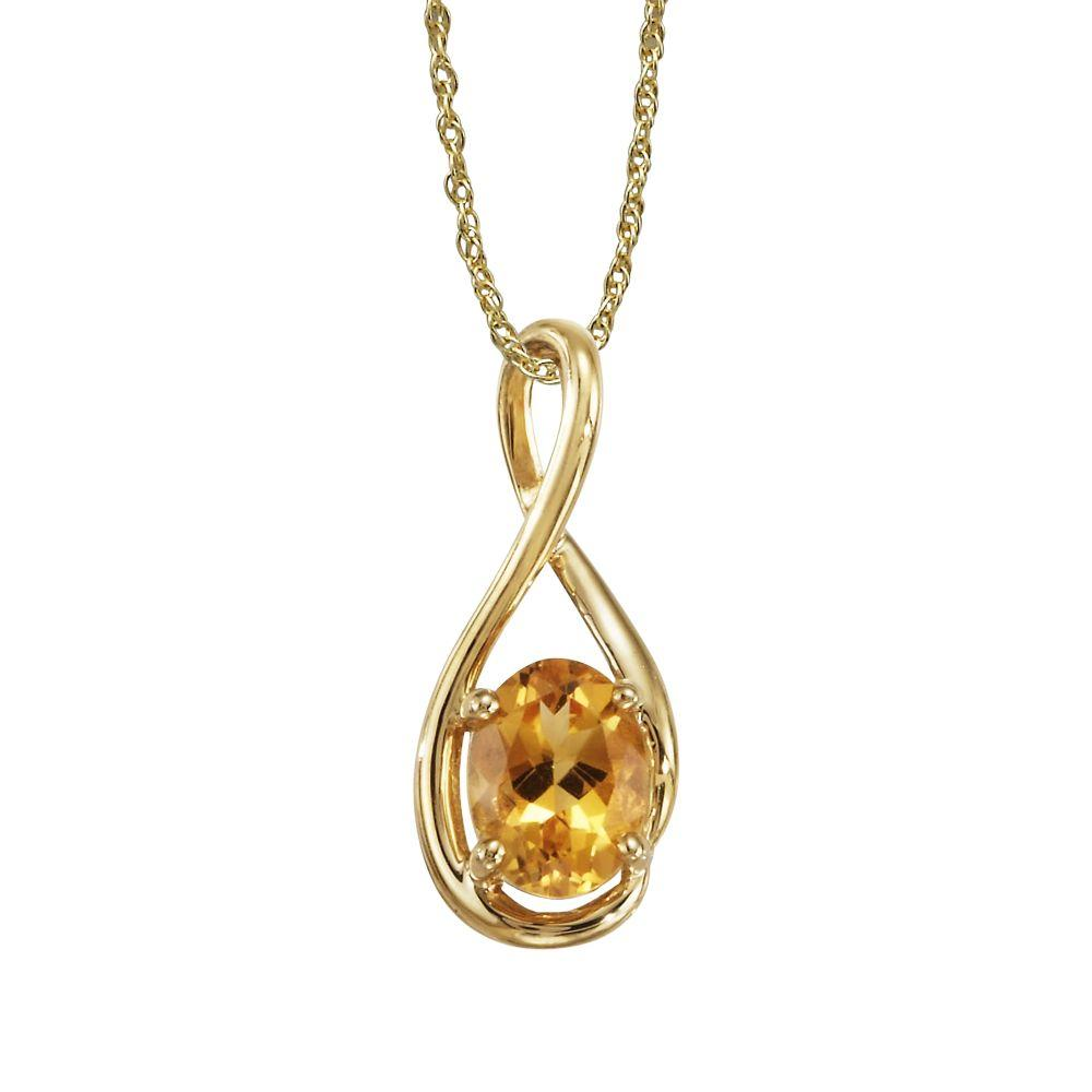 14K Yellow Gold Checkerboard Citrine Pendant With Chain
