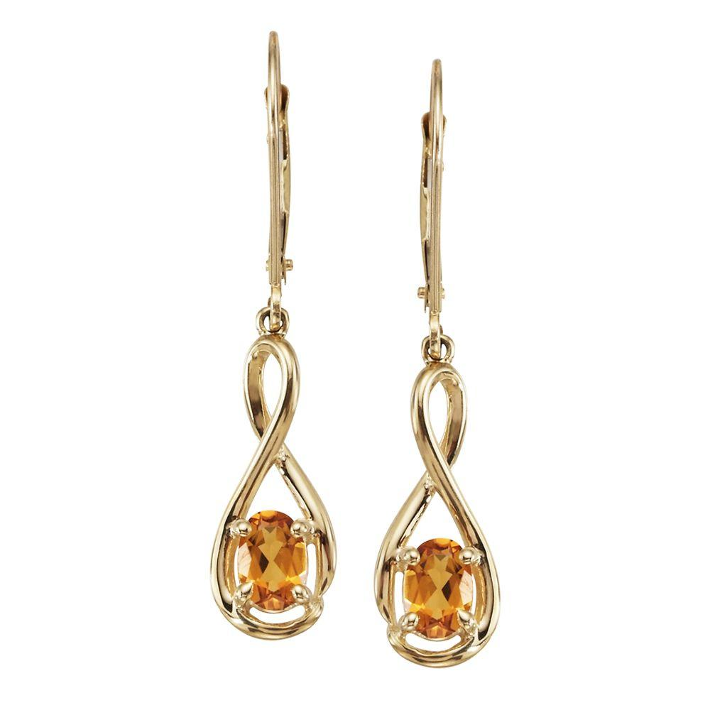 14K Yellow Gold Checkerboard Citrine Earrings