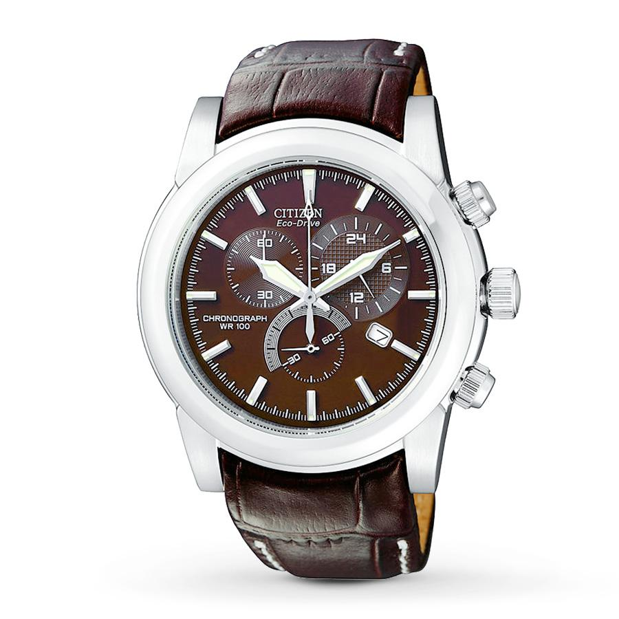 Citizen Watch, Mens Chronograph Eco-Drive Brown Leather Strap
