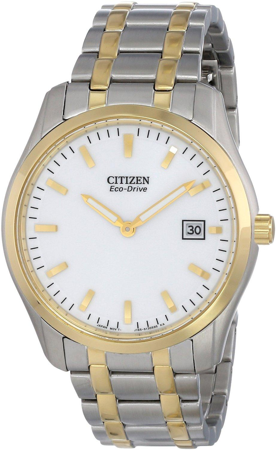 Citizen Mens Dress Eco Drive Two Tone Stainless Steel Watch