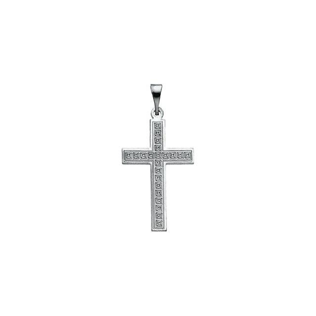 14k White Gold Cross 18x12
