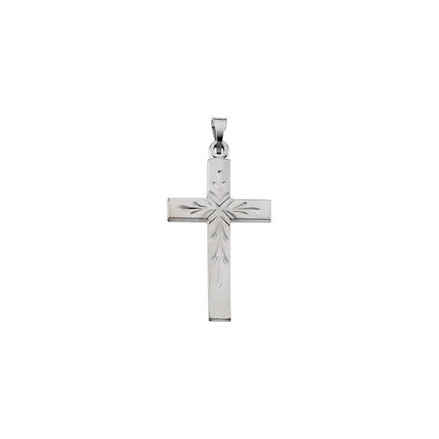 14k White Gold Cross 24x15