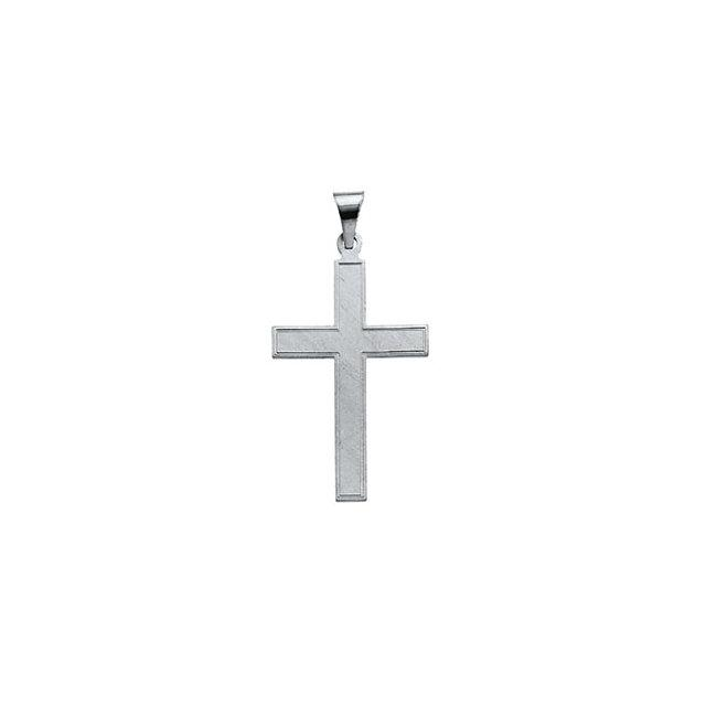 14k White Gold Cross 28x18