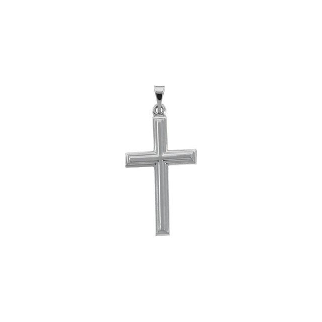 14k White Gold Cross 24x14mm