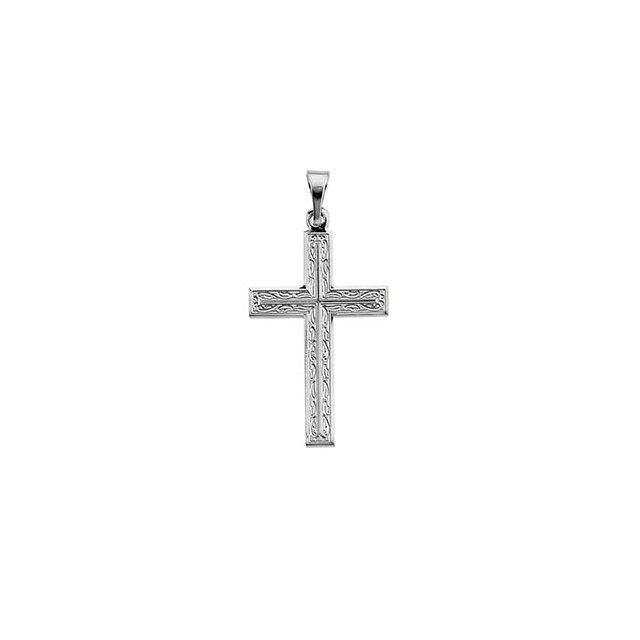 14k White Gold Cross 18x12mm