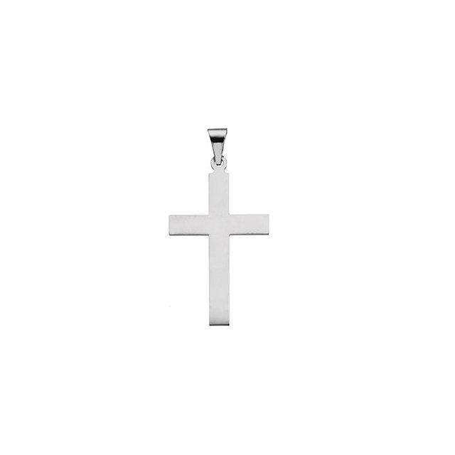 14k White Gold Cross 28x18mm