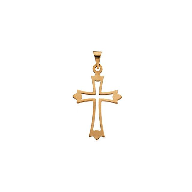 14k Yellow Gold Cross 24x18mm
