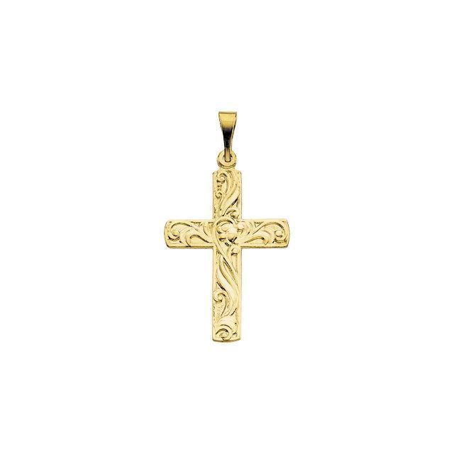 FB Jewels 14K Yellow Gold 24x14mm Cross Pendant