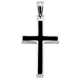 Sterling Silver Cross with Black Epoxy