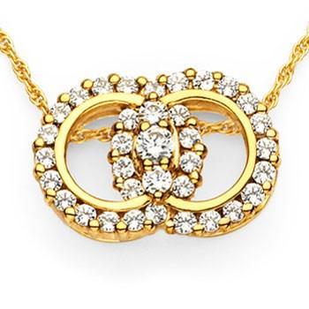 14k Yellow Gold Diamond Marriage Symbol 2.00ct