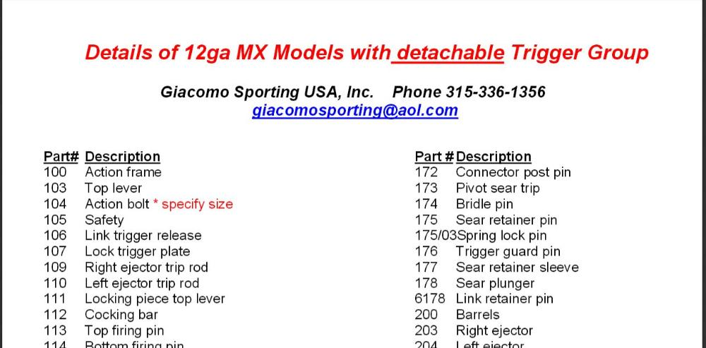 MX Model 12 ga Removable Trigger Group Parts List - Click on PDF File to the Right