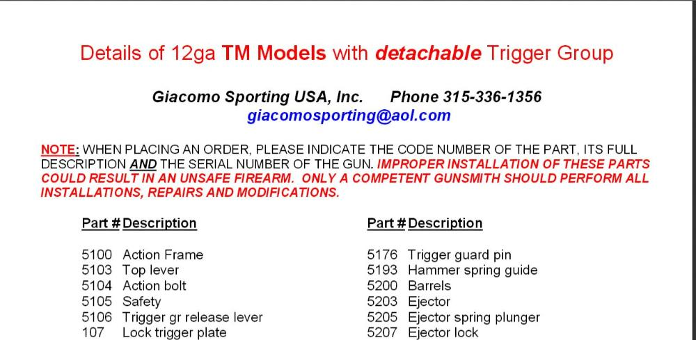 TM Model Parts List - Click on PDF to the Right