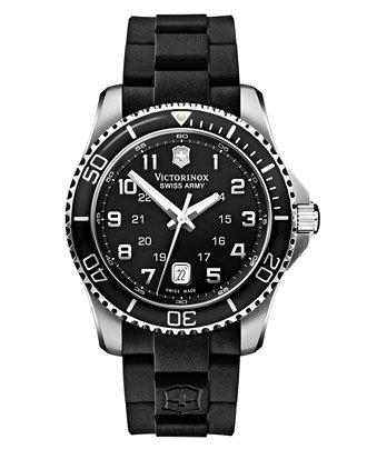 Victorinox Swiss Army Watch, Mens Maverick GS Black Rubber Strap