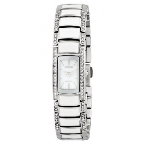 Ladies Citizen White Band with Crystals