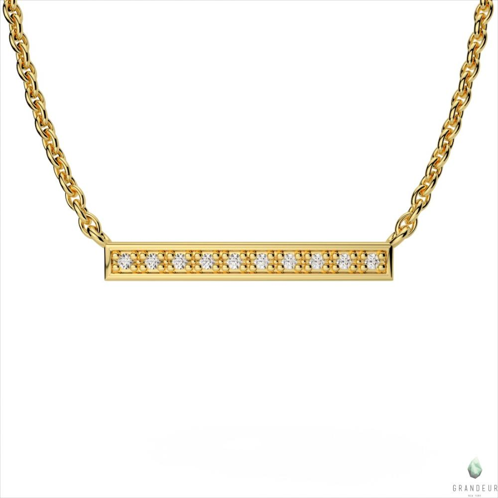 14k Yellow Gold Diamond Bar Pendant
