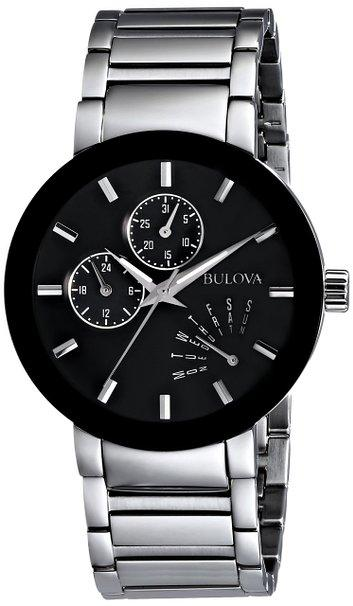 Bulova Mens Black Dial Bracelet Watch