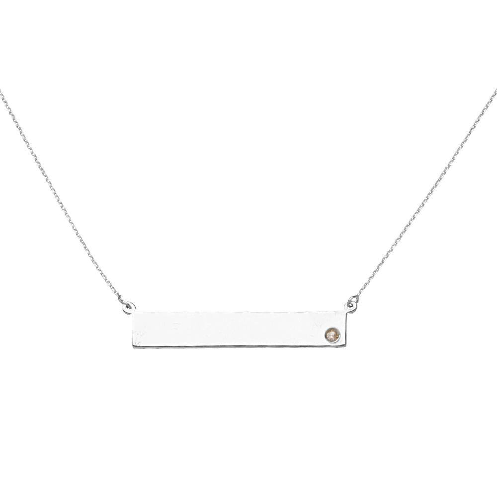 14k White Gold and Diamond Bar Pendant