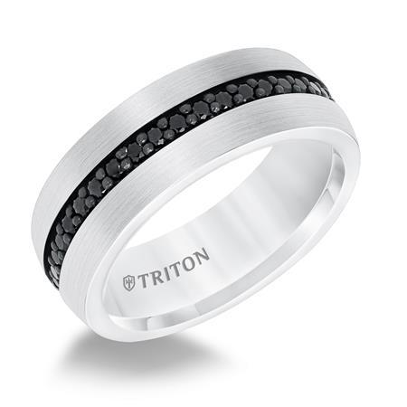 8MM Comfort Fit White Tungsten All Around Black Sapphire Band