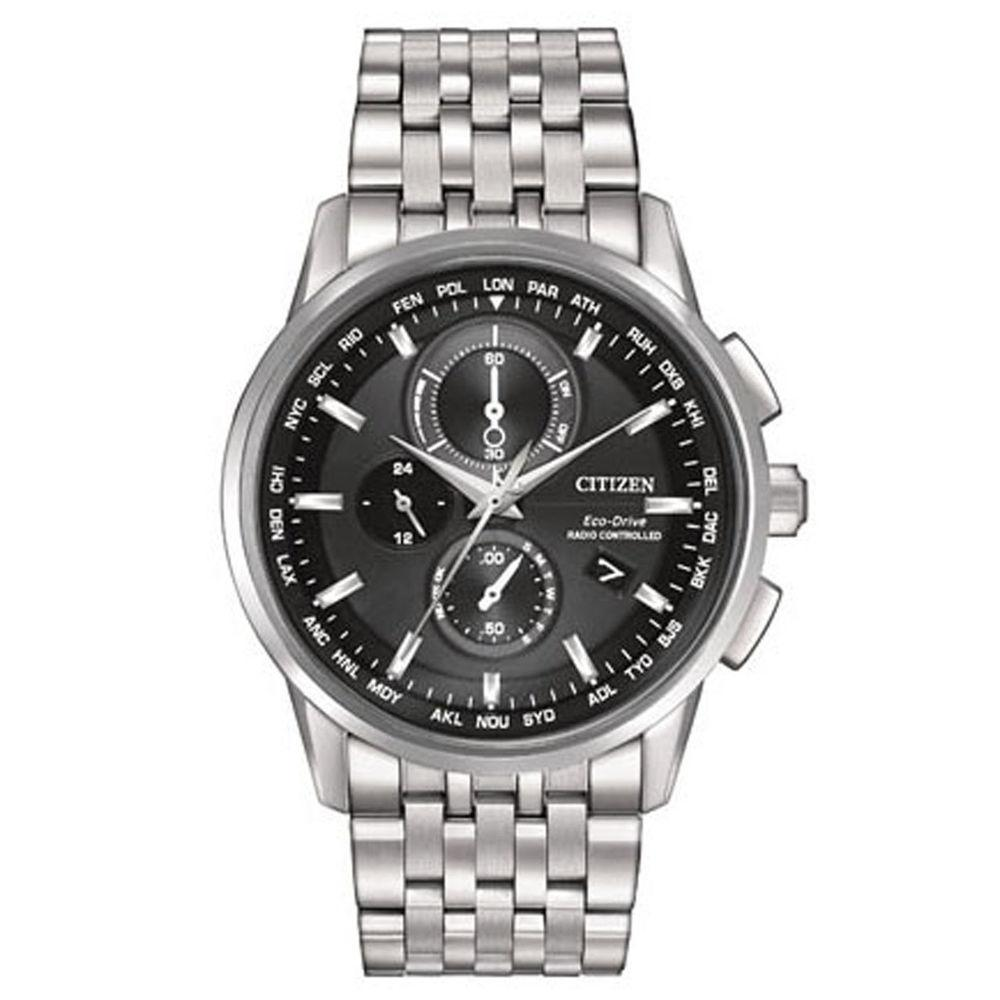 Citizen Mens  World Chronograph A-T Analog Display Japanese Quartz Silver Watch