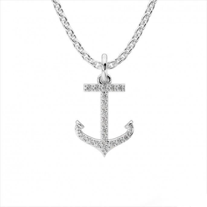 14k White Gold and Diamond Anchor Pendant