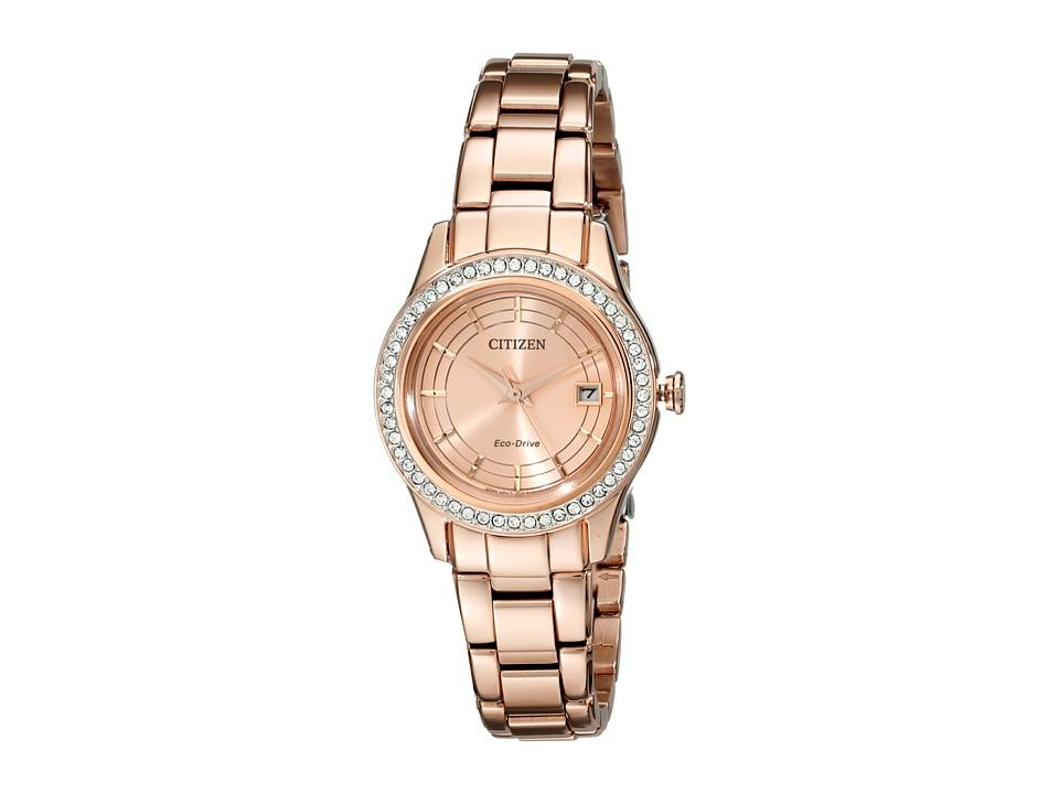 Citizen Womens Eco-Drive Rose Gold-Tone Stainless Steel Bracelet Watch