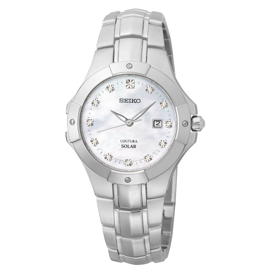 Seiko Womens Coutura Solar Diamond Accent Stainless Steel Bracelet Watch