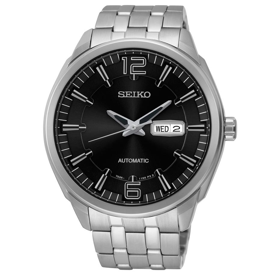 Seiko Mens Recraft Stainless Steel Automatic Skeleton Watch
