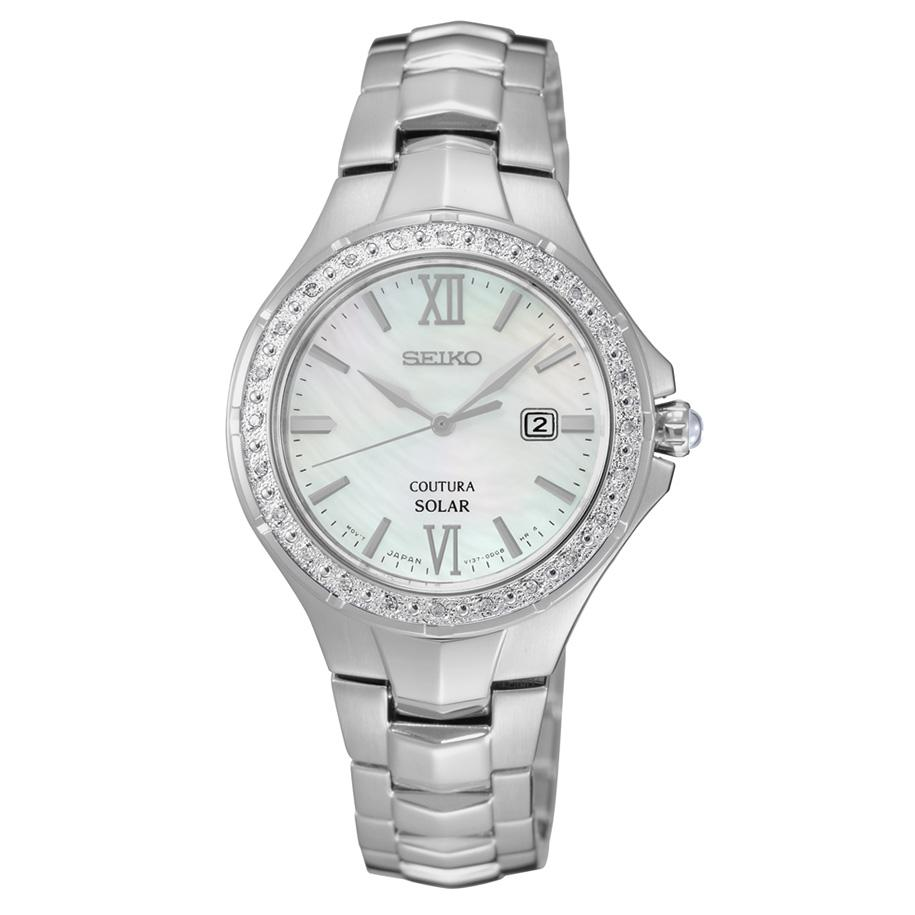 Seiko Womens Coutura Diamond Stainless Steel Solar Watch