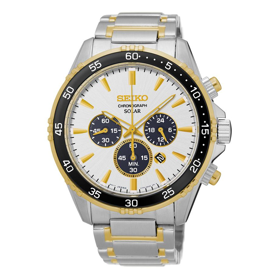 Seiko Mens Core Two Tone Stainless Steel Solar Chronograph Watch