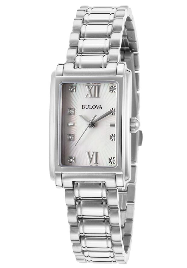 Bulova Womens 8-Diamond Mother of Pearl Dial Watch