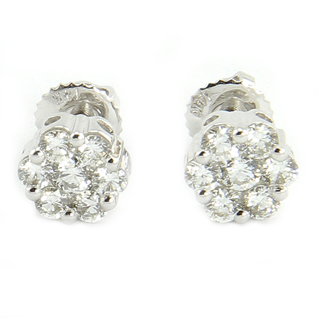 Diamond Cluster Earrings Set in 14K White Gold