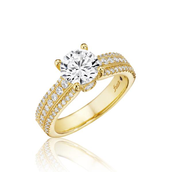 14k Yellow Gold and Diamond Semi-Mounting