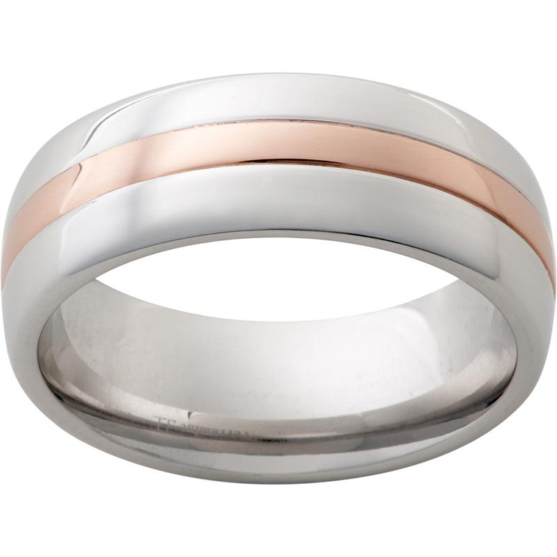 Serinium Domed Band with a 2mm 14K Rose Gold Inlay