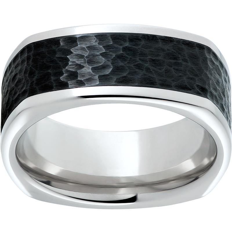Serinium Square Band with Black Ceramic Inlay and Hammered Finish