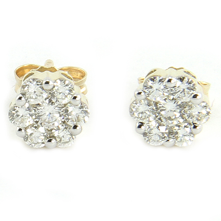 Diamond Cluster Earrings Set in 14K Yellow Gold