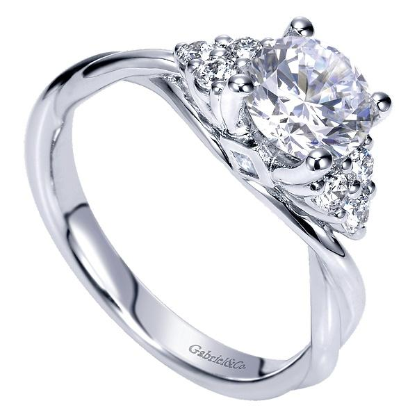 14k White Gold Round Twisted  Engagement Ring