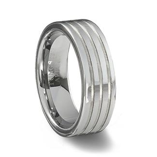 Polished Tungsten Carbide Ring & Triple Grooves