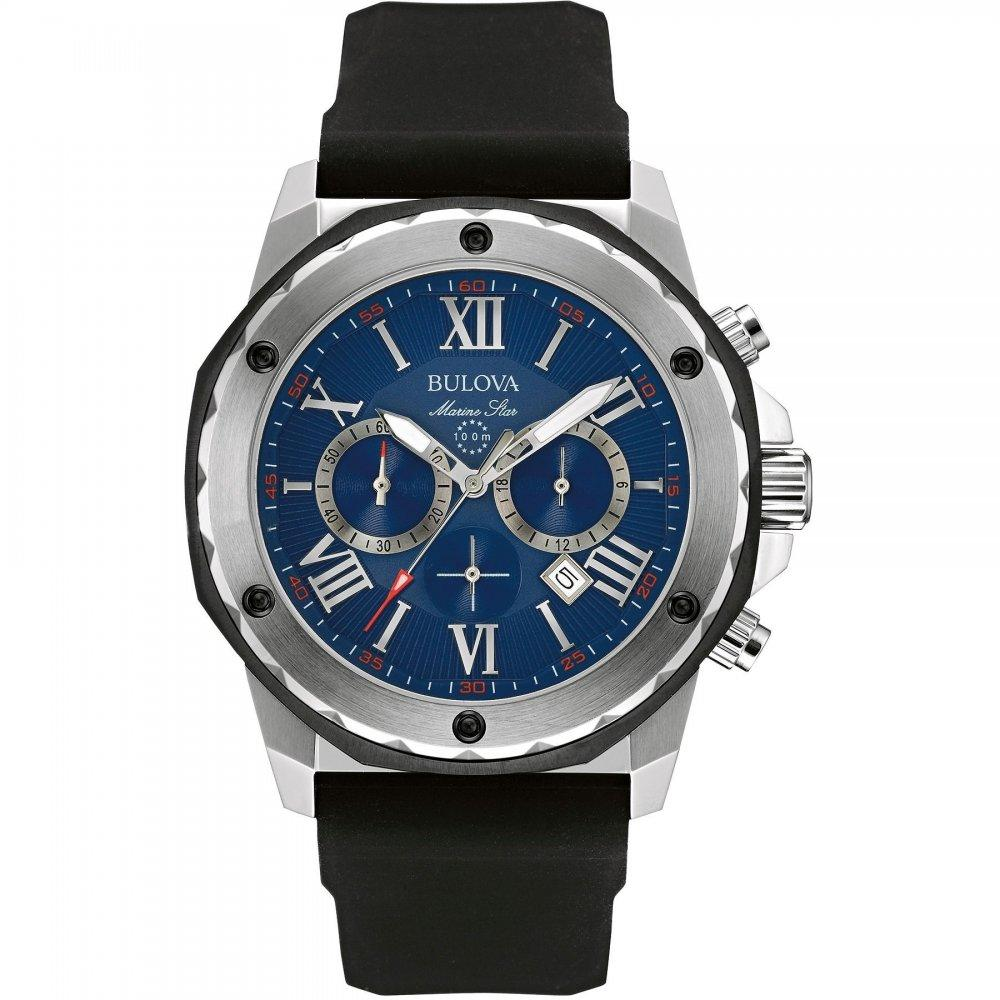 Bulova Mens Quartz Stainless Steel and Silicone Casual Watch
