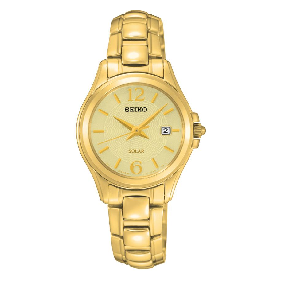 Seiko Womens Solar Analog Display Japanese Quartz Gold Watch