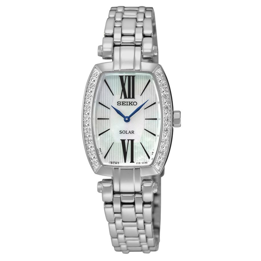 Seiko Womens Tressia Stainless Steel Silver Bracelet Band White Dial Watch