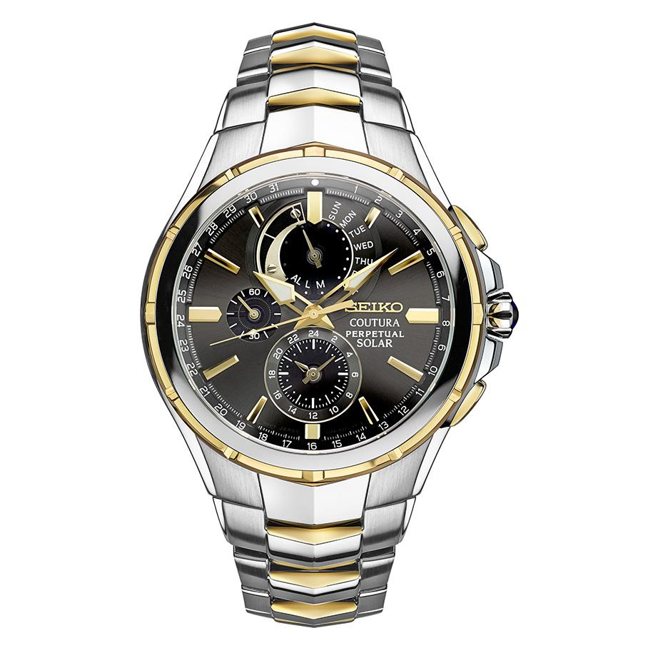 Seiko Coutura Solar Chronograph Two Tone Stainless Steel Men s Watch