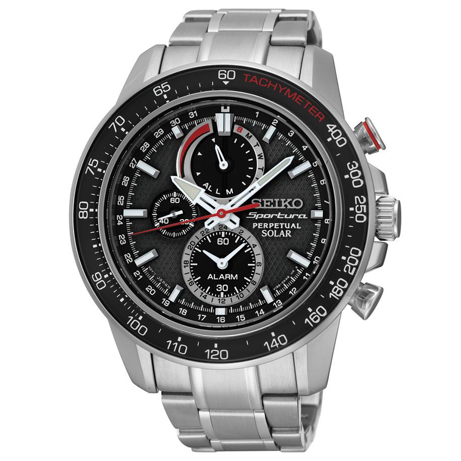 Seiko Sportura Black Dial Stainless Steel Chronograph Quartz Mens Watch