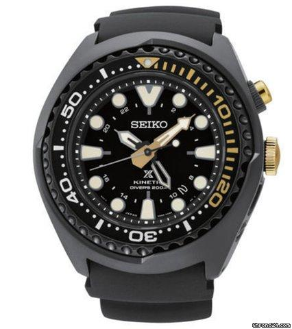 Seiko Kinetic Black Ion Silcone Strap Black Dial Mens Watch