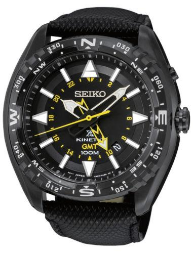 Seiko Black Dial Stainless Steel Leather Quartz Mens Watch