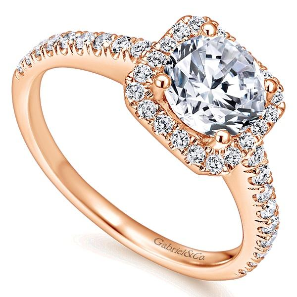 Margot 14k Pink Gold Round Halo  Engagement Ring