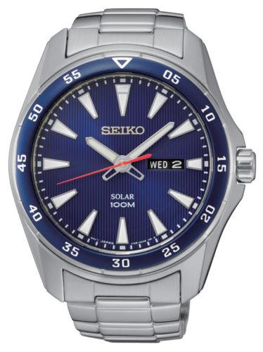 Seiko Mens Core Silver Bracelet Band Blue Dial Watch